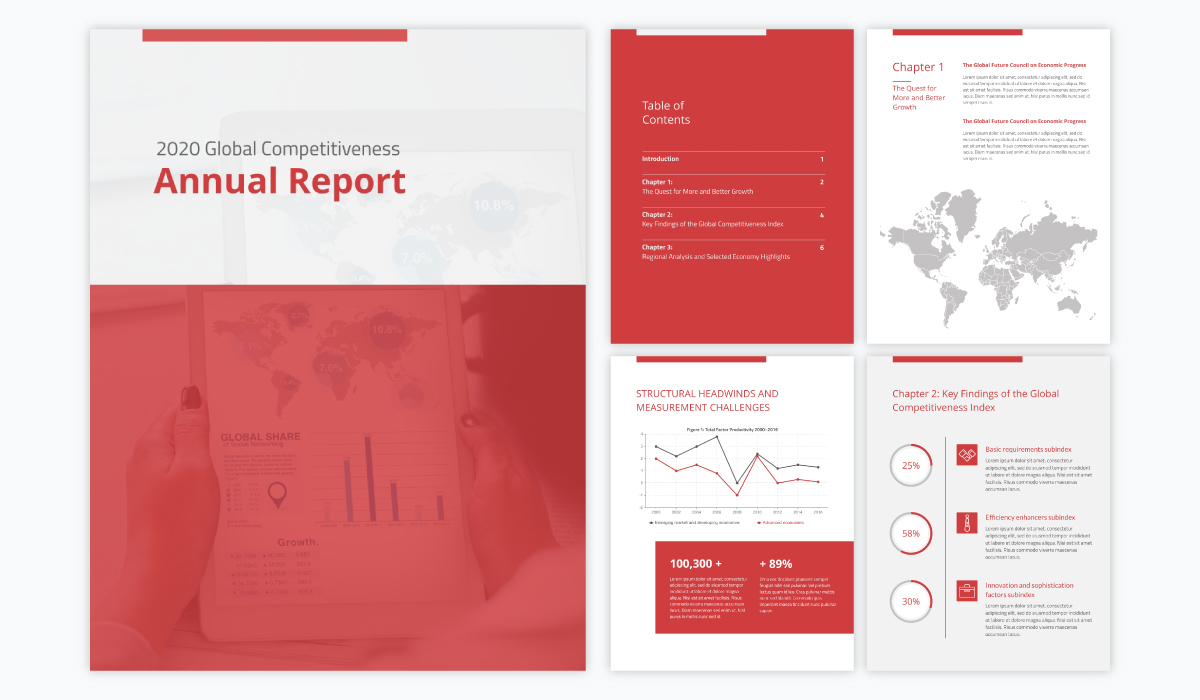 red and white annual report template with a corporate theme