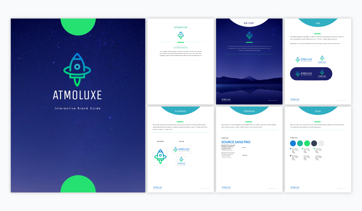 A blue and green, outer space-themed brand guidelines template available in Visme.