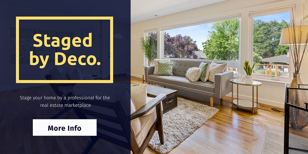 An ad template for home staging with a photo of a living room available in Visme.