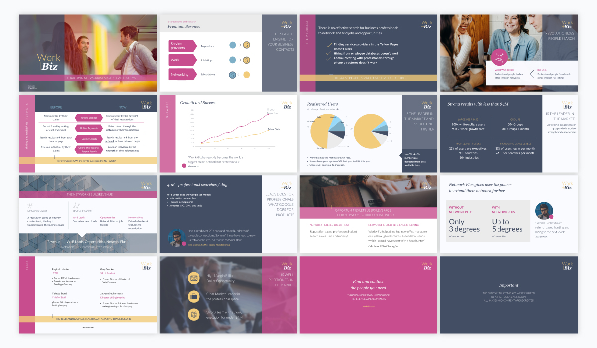 A collage of a purple and grey pitch deck template available in Visme.