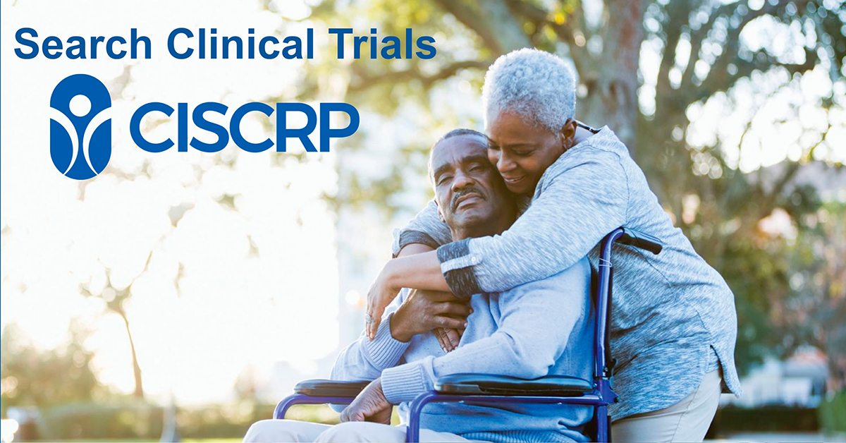 """A photo of an older couple hugging with the caption """"Search Clinical Trials"""""""
