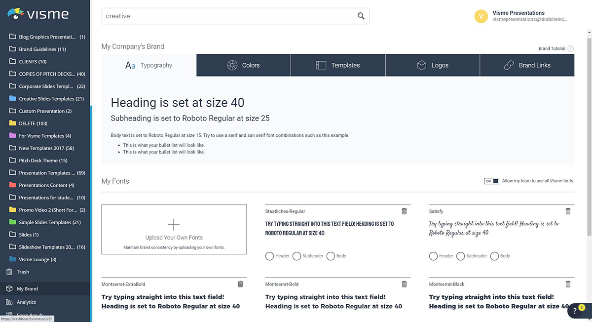 A screenshot of the Brand Kit area in Visme's dashboard.
