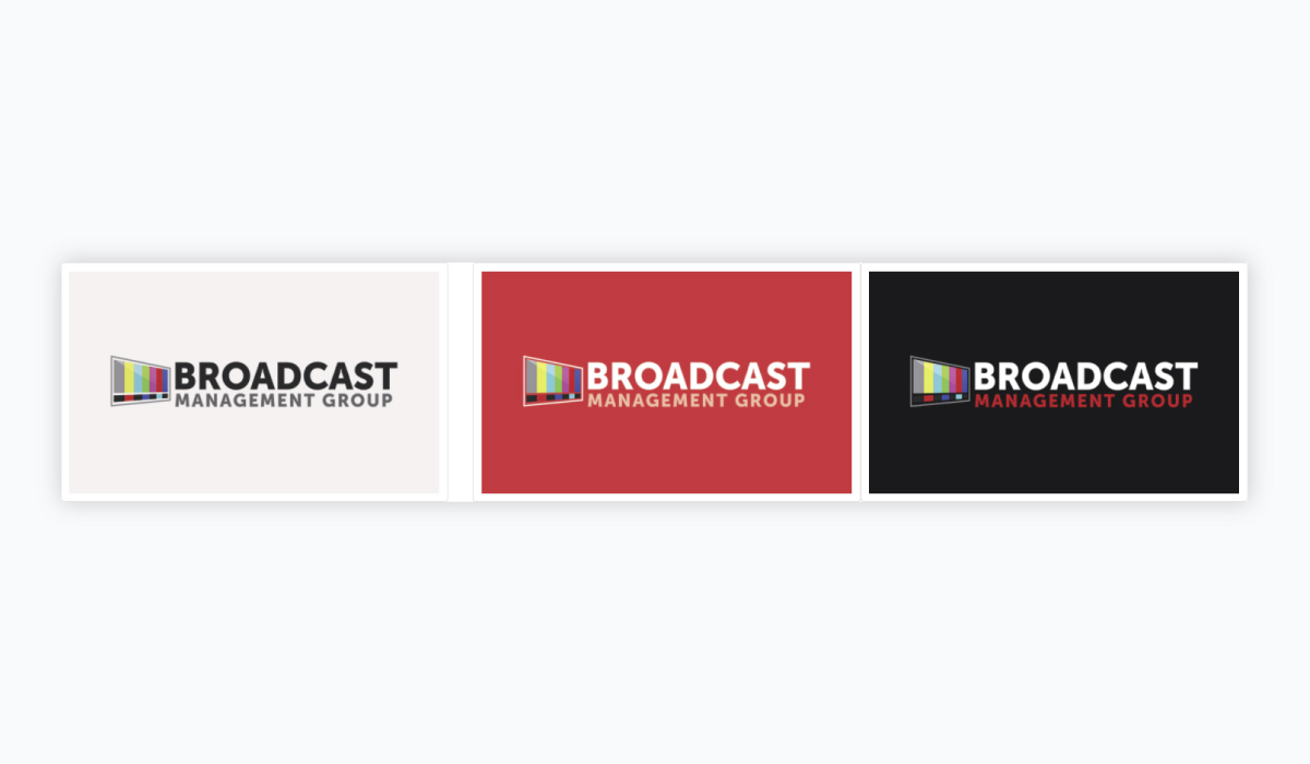 Three ads side by side with similar color schemes but different primary colors for Broadcast Management Group.