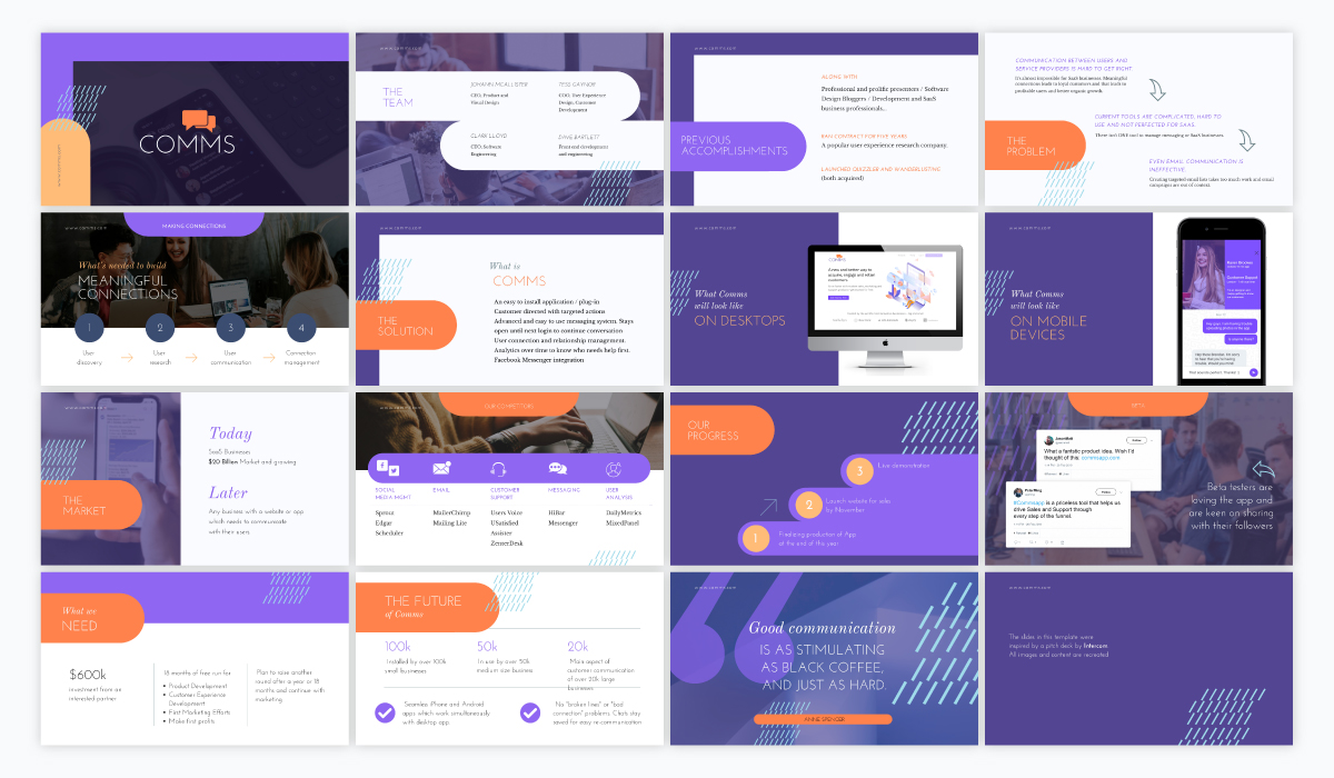 An orange and purple sales presentation template available in Visme.