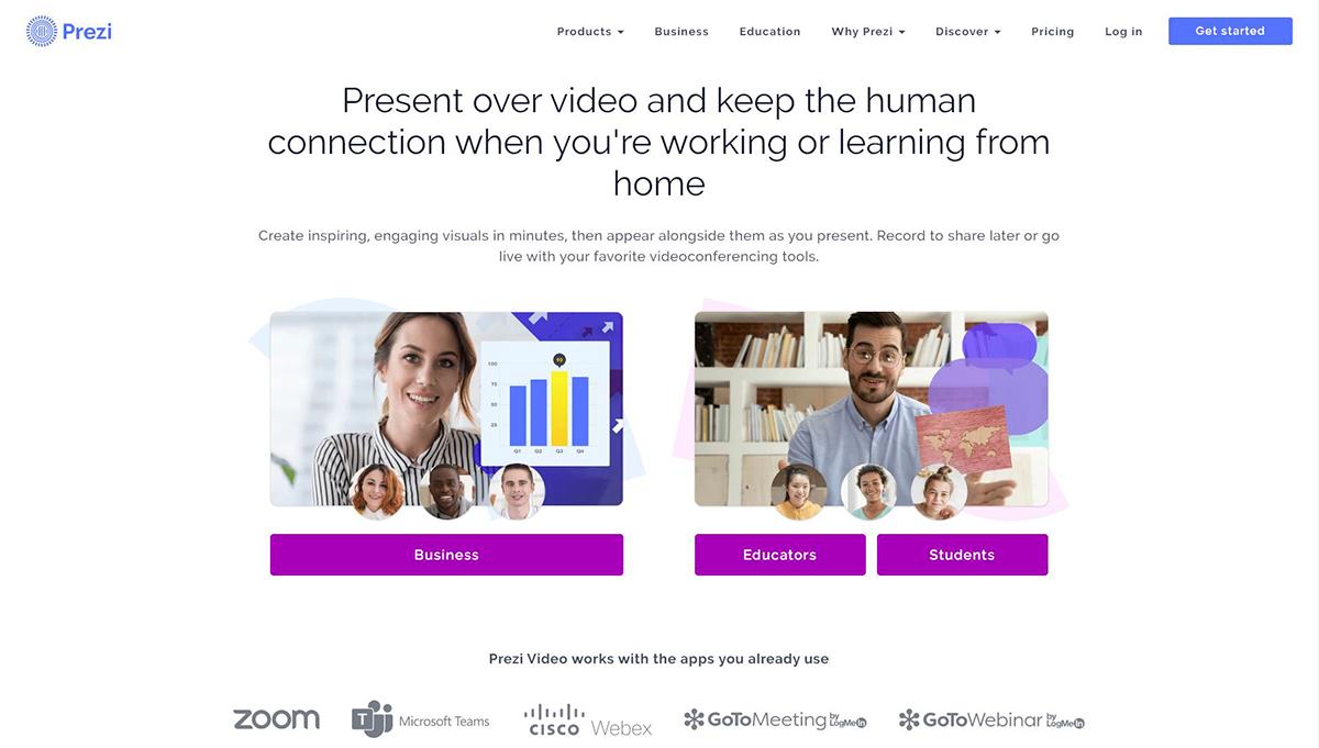 best presentation software - prezi homepage