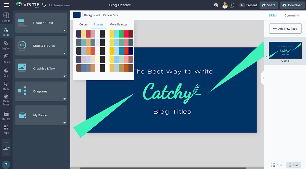 blog graphics - color schemes in visme to choose from
