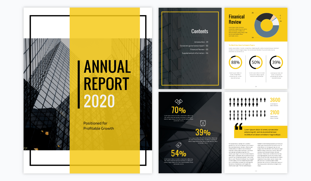 yellow and black annual report template for businesses