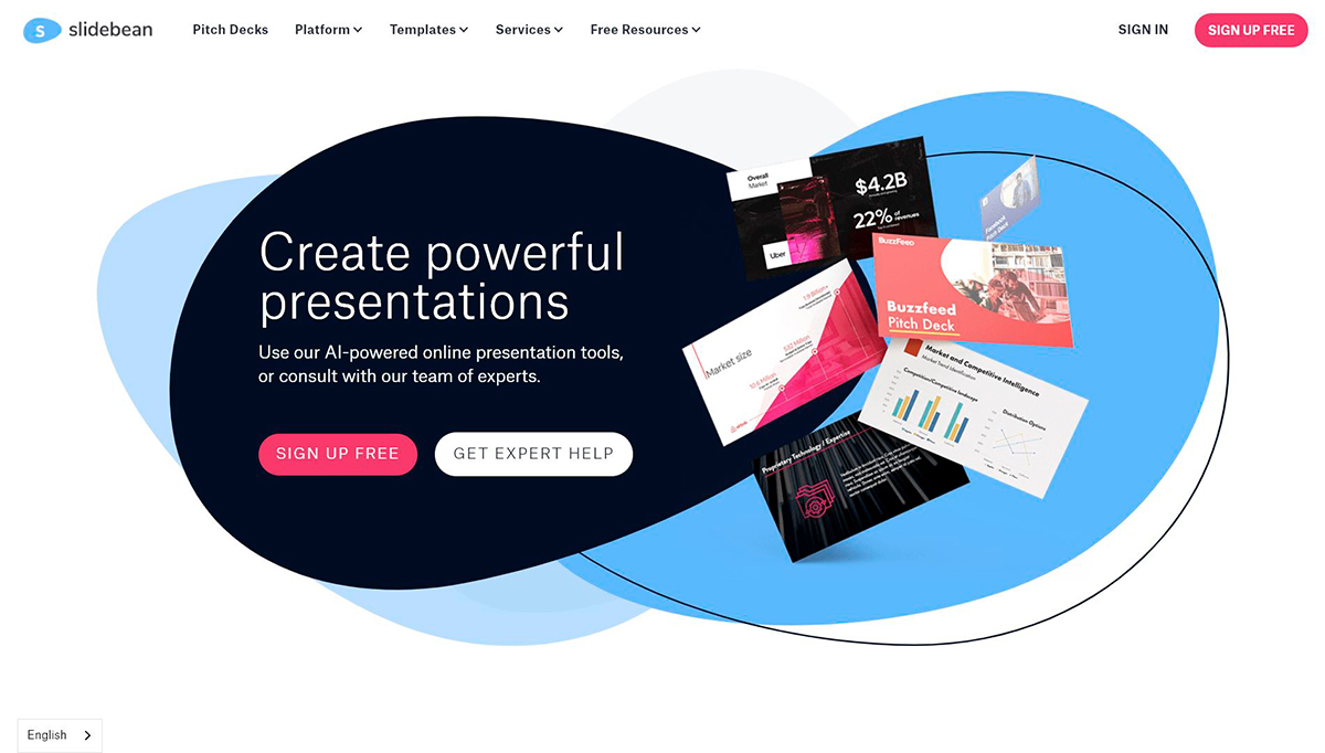 best presentation software - slidebean homepage