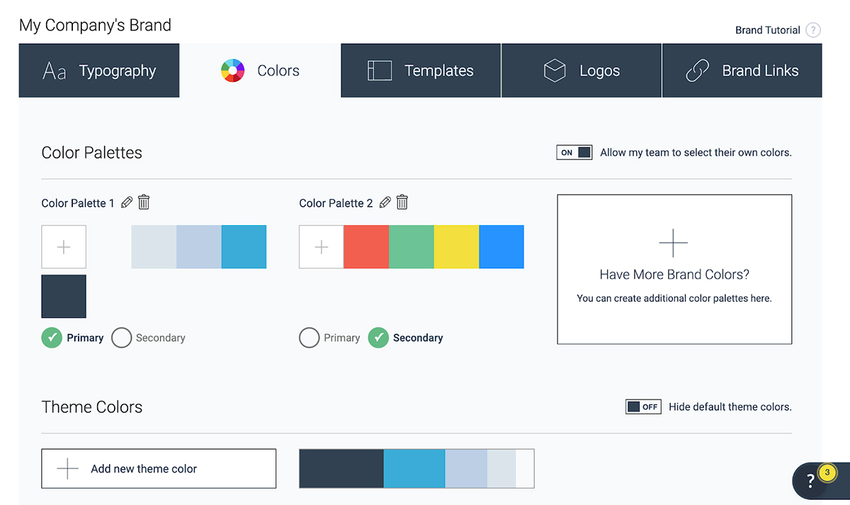 A screenshot of the Visme Brand Kit feature with color palettes set up.