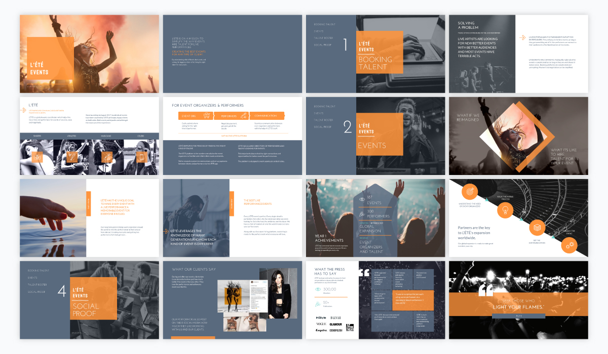 A grey and orange event sales presentation template available in Visme.