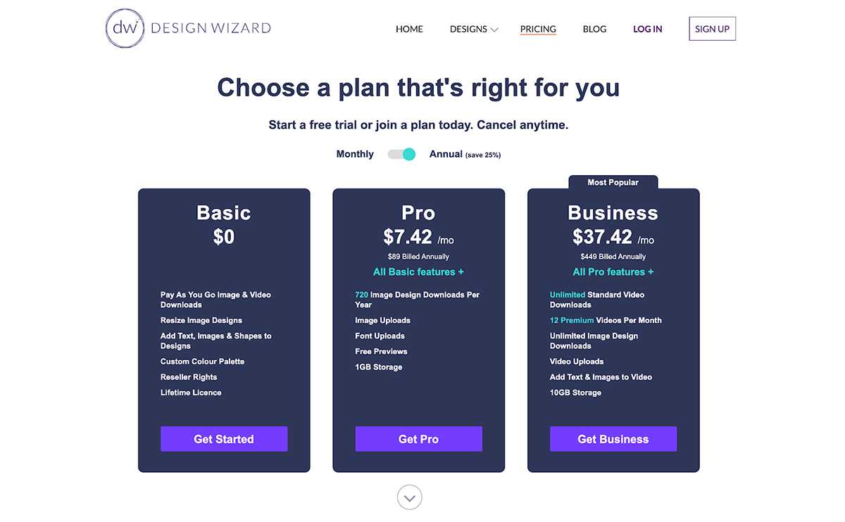A screenshot of Design Wizard's pricing plans