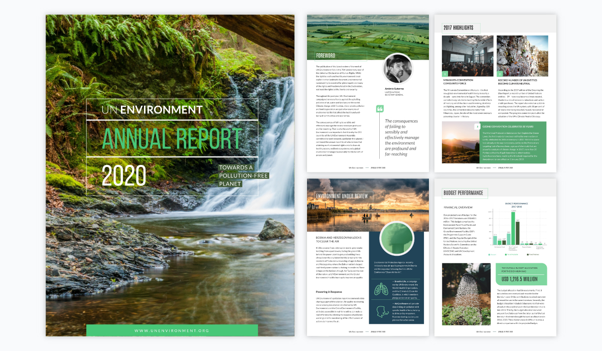 green and white annual report template with a nature-inspired theme for nonprofits and environmental topics