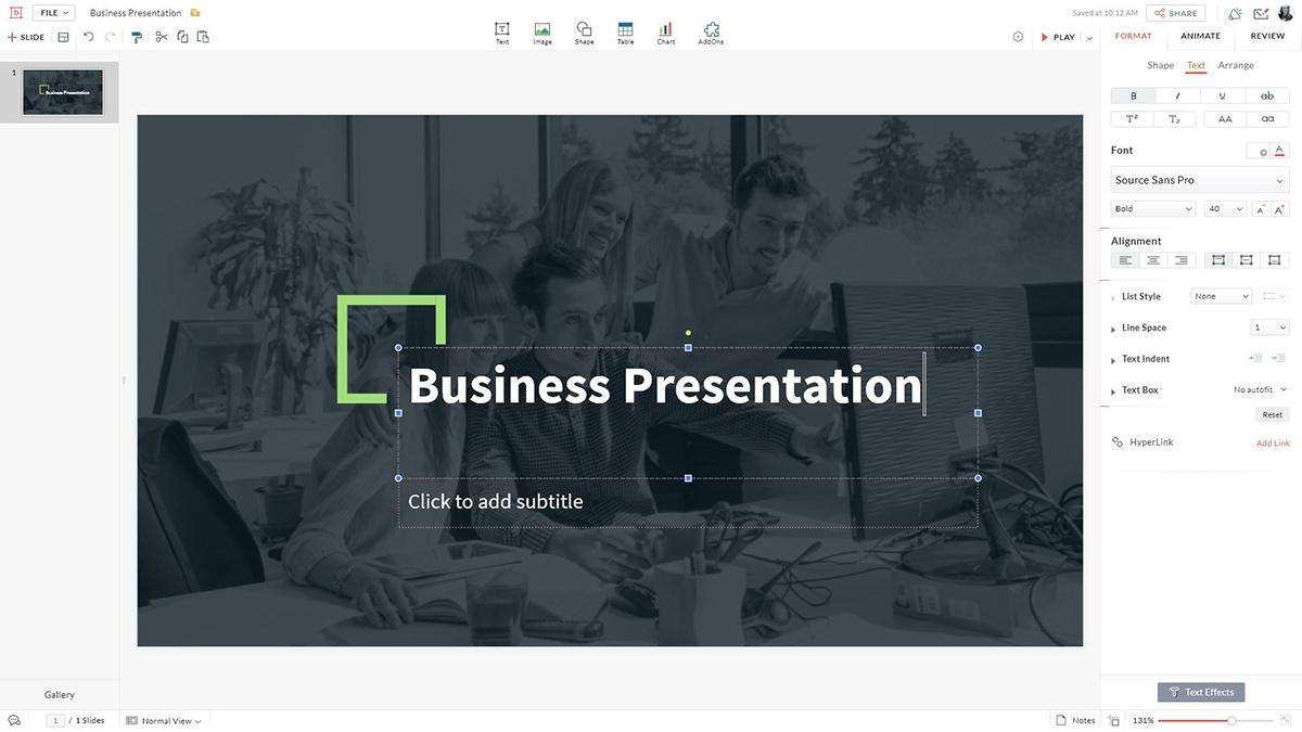 best presentation software - zoho show editor