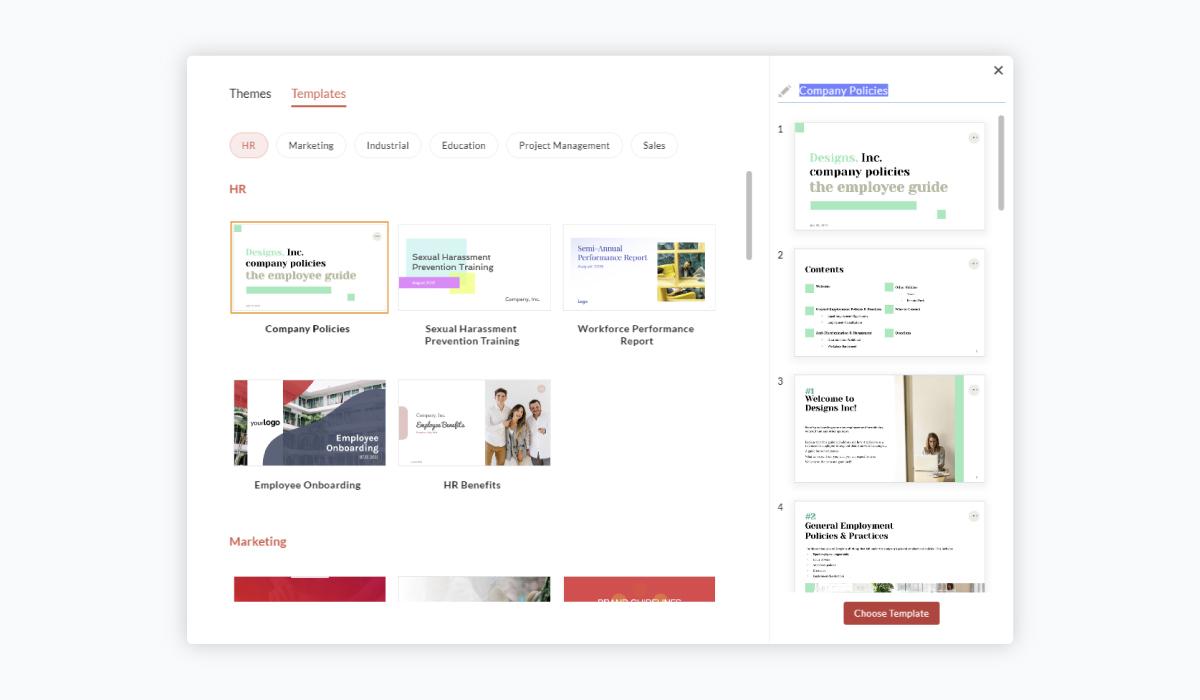 best presentation software - zoho show templates
