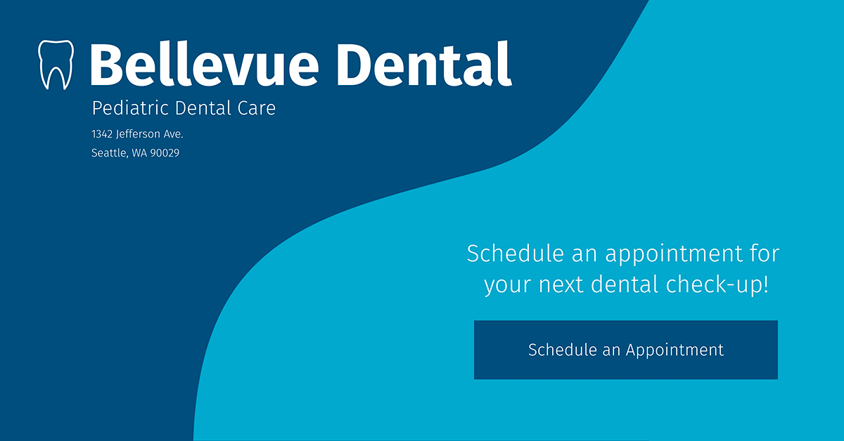 A blue monochromatic ad template for a dental practice available in Visme.