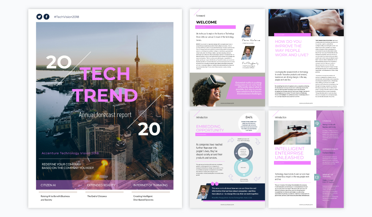 pink and white annual report template with a technology trends theme