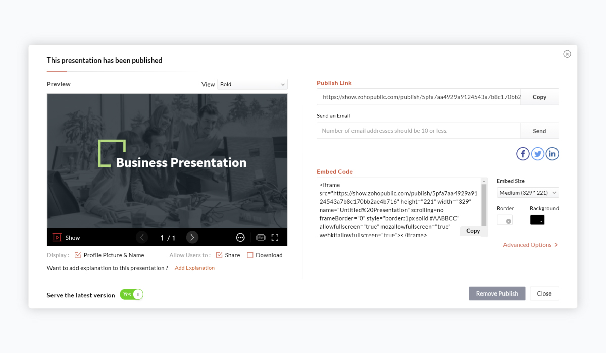 best presentation software - zoho show sharing