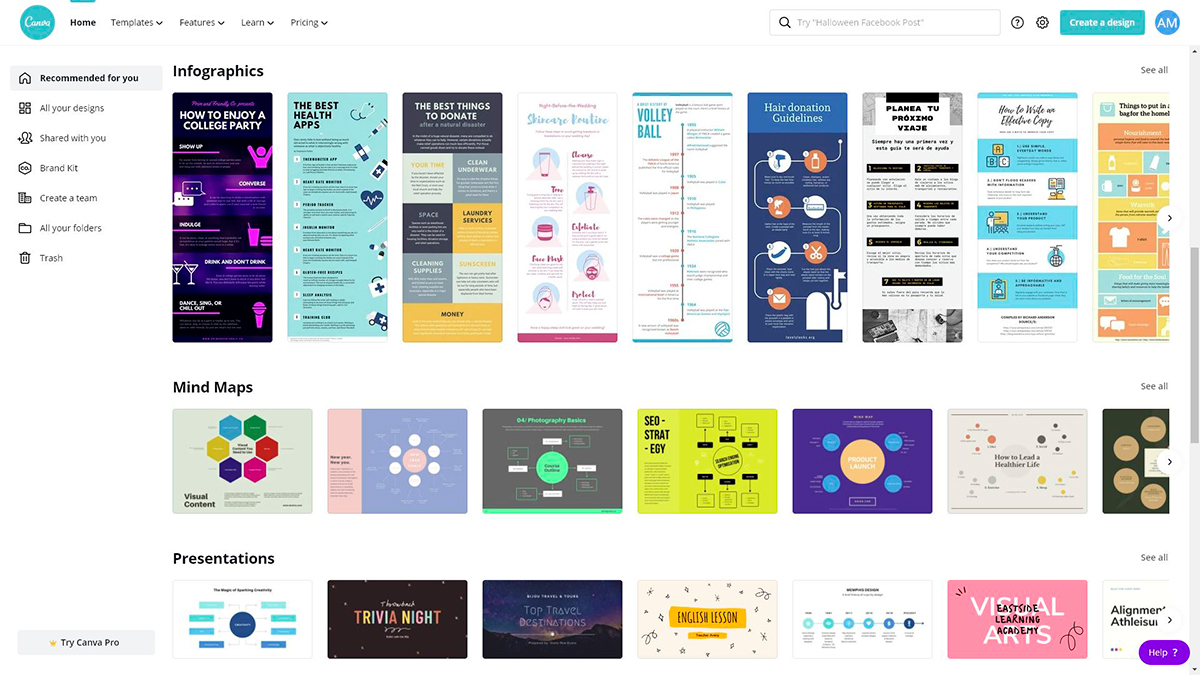 best presentation software - canva templates