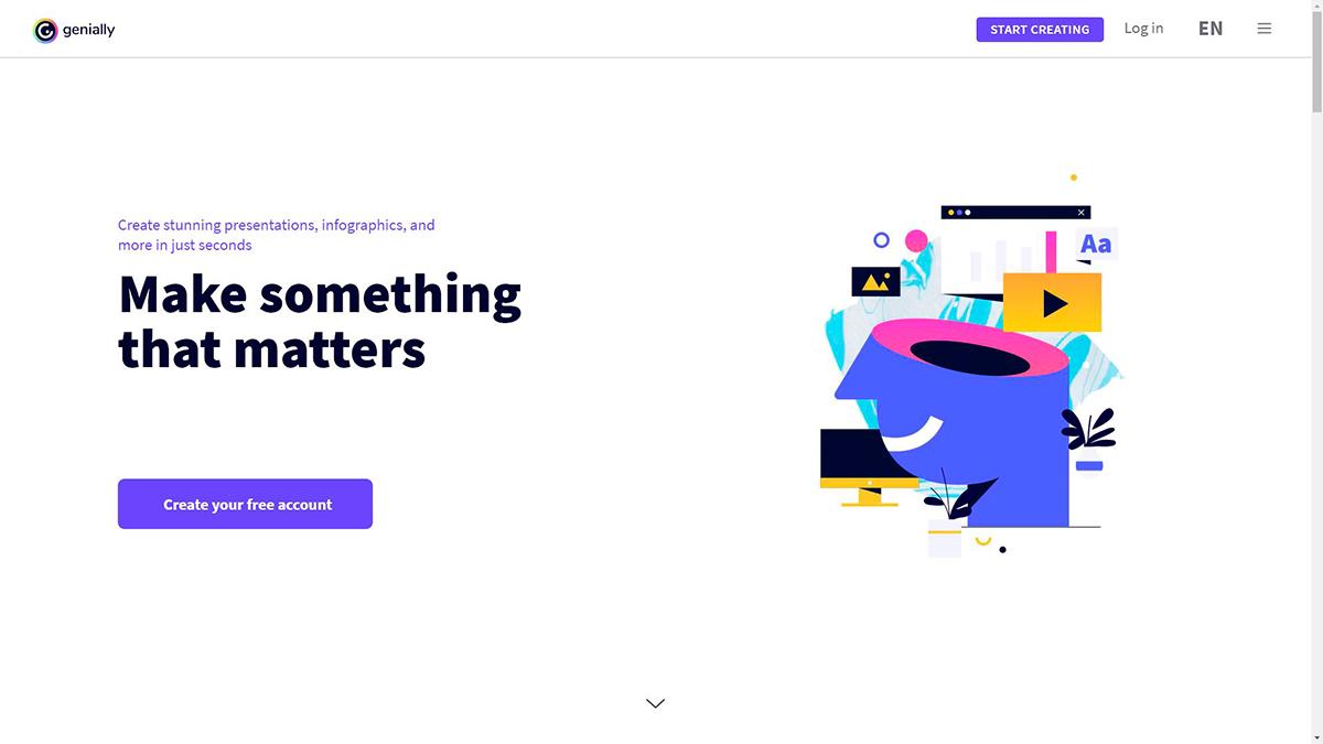 best presentation software - genially homepage