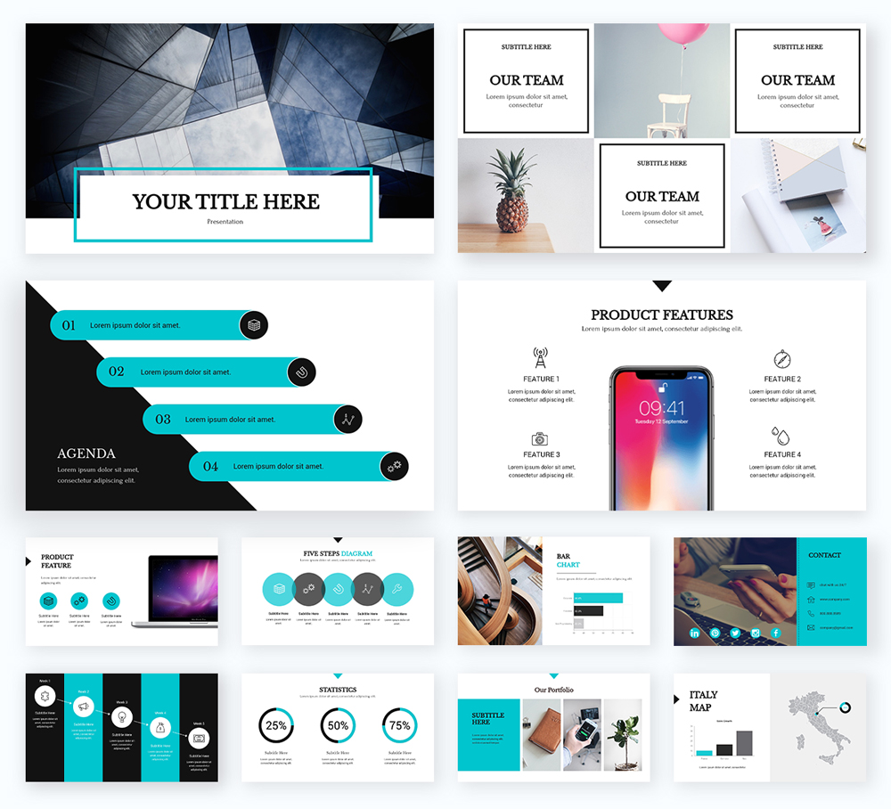 A black and teal presentation template available in Visme.