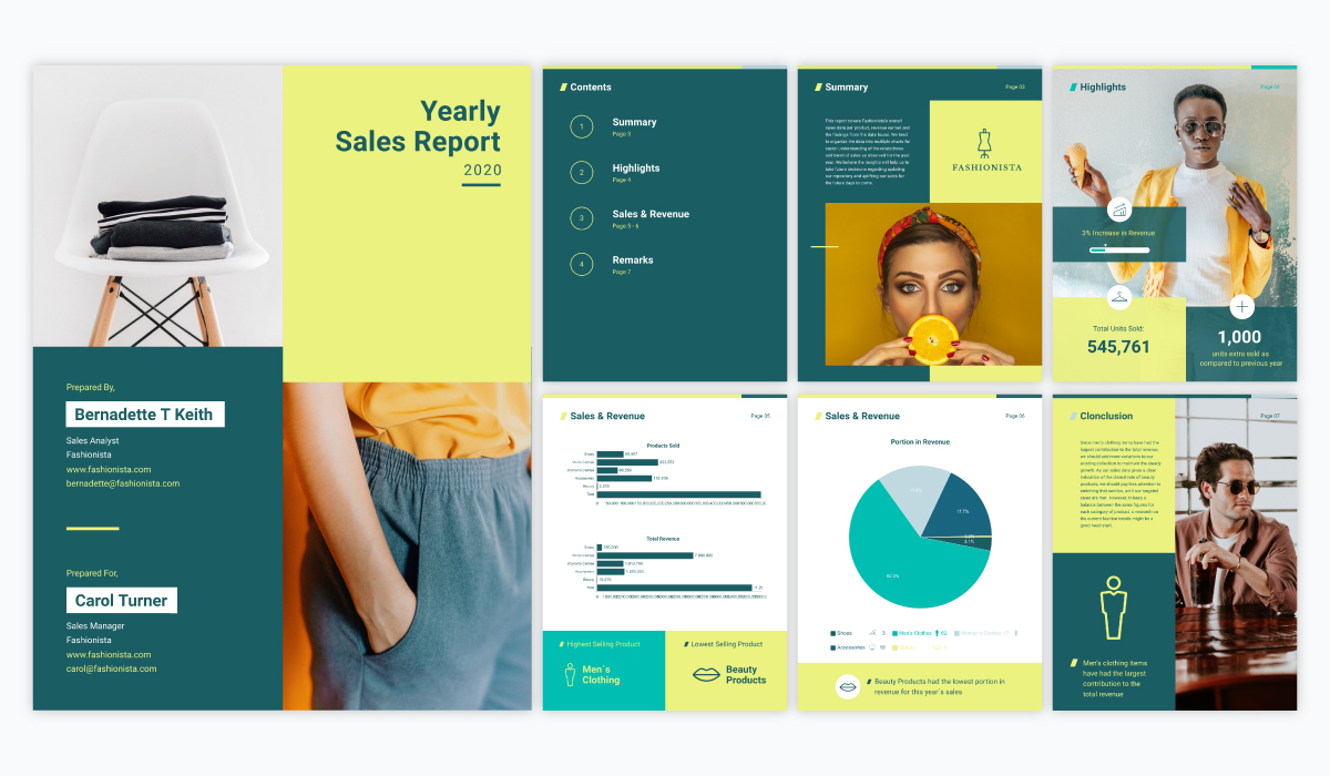 bright and colorful annual report design for yearly sales, ideal for fashion brands and creative agencies.