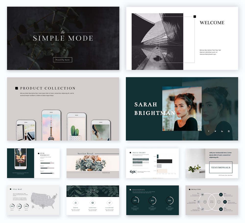 A minimalistic, black, grey and green presentation template available in Visme.