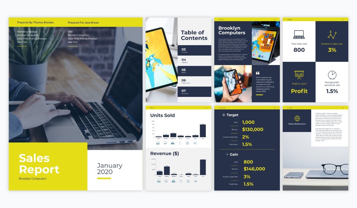 A yellow yellow and blue sales report template available in Visme.