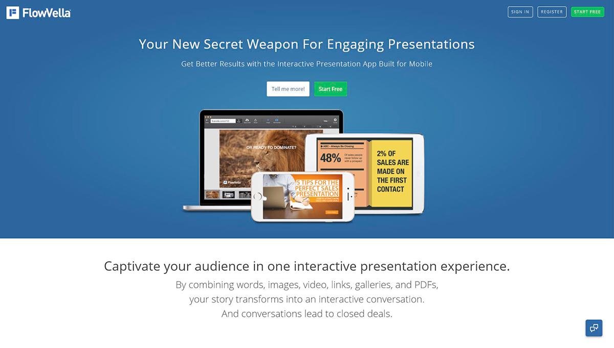 best presentation software - flowvella homepage