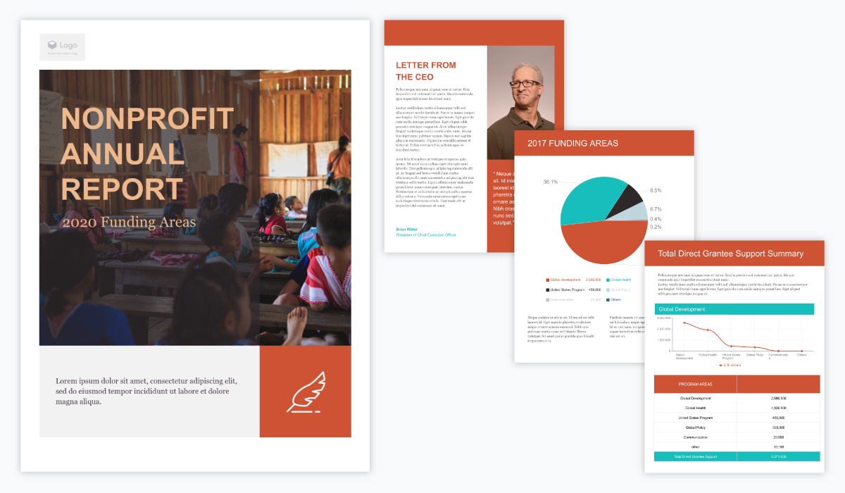 orange and white annual report template for nonprofits with charts and tables