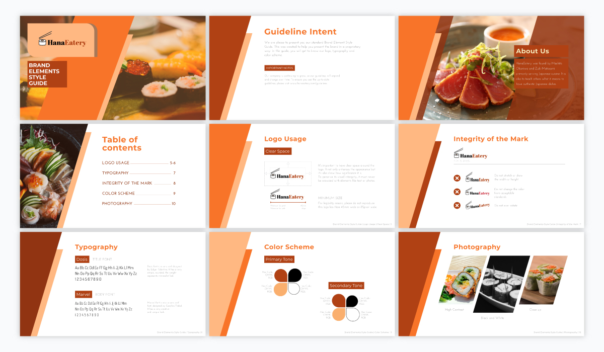 A red and orange brand guidelines presentation template available in Visme.