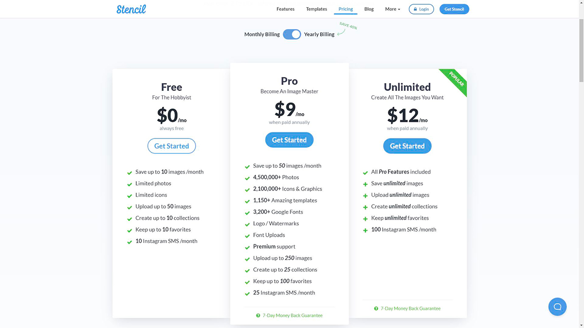 A screenshot of Stencil's pricing plans
