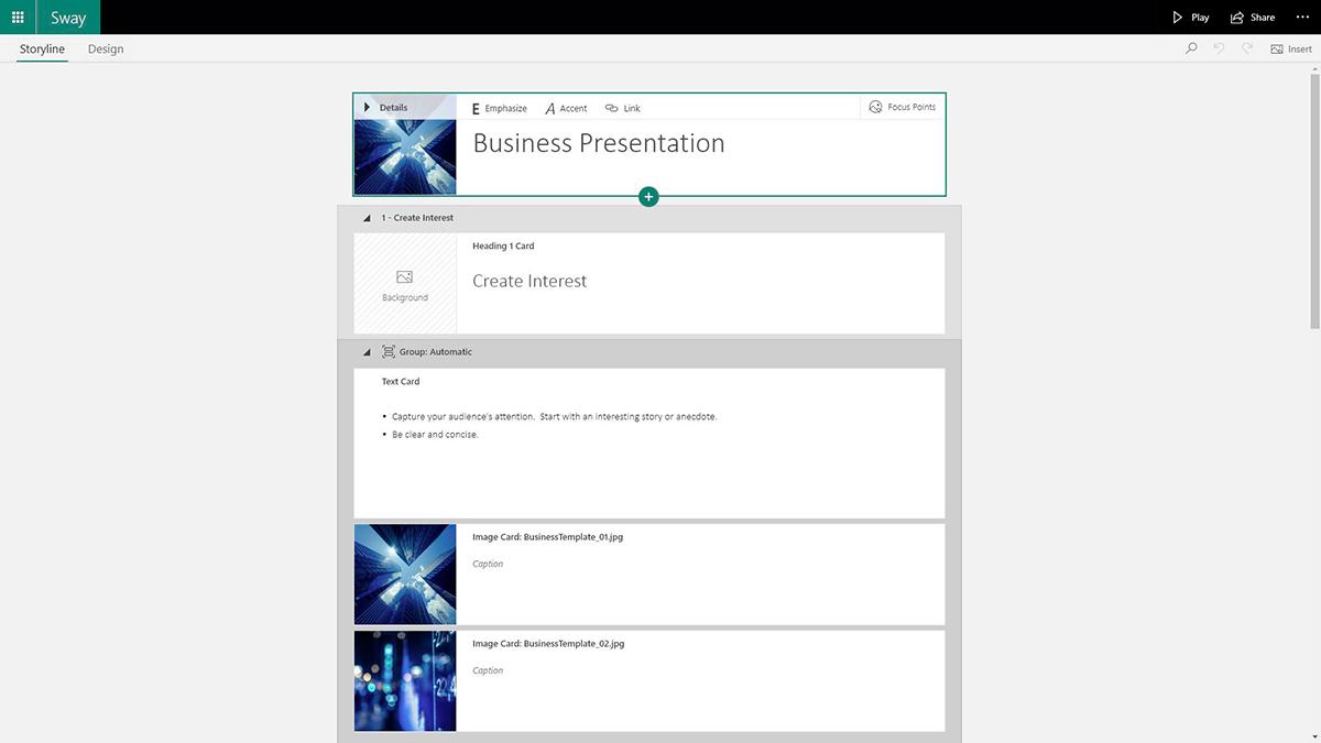 best presentation software - sway storyline editor
