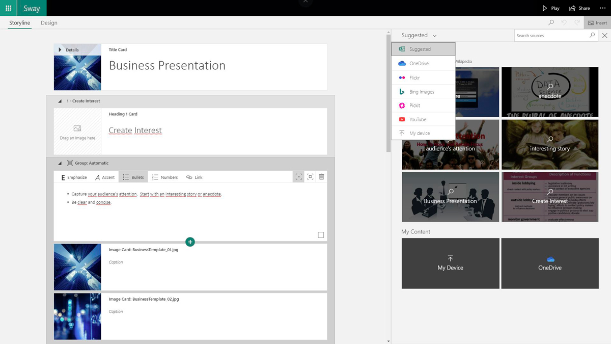 best presentation software - sway graphic library
