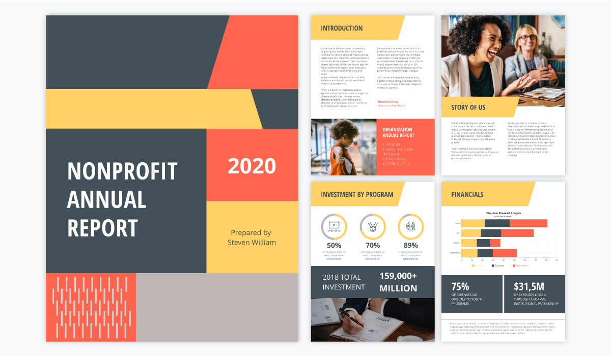 multi-colored annual report template for nonprofits and businesses with a geometric cover page and bright colors