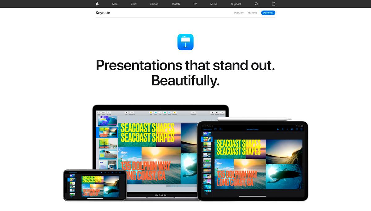 best presentation software - keynote homepage