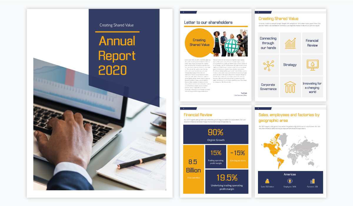 dark blue yellow and white annual report template for businesses with a modern theme, icons and a map