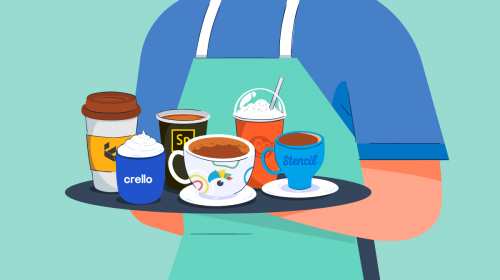canva alternatives header - a person carrying a tray with several types of coffees, each with a design tool logo