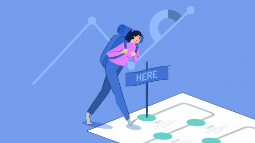Illustration of a girl navigating her way through an infographic layout.