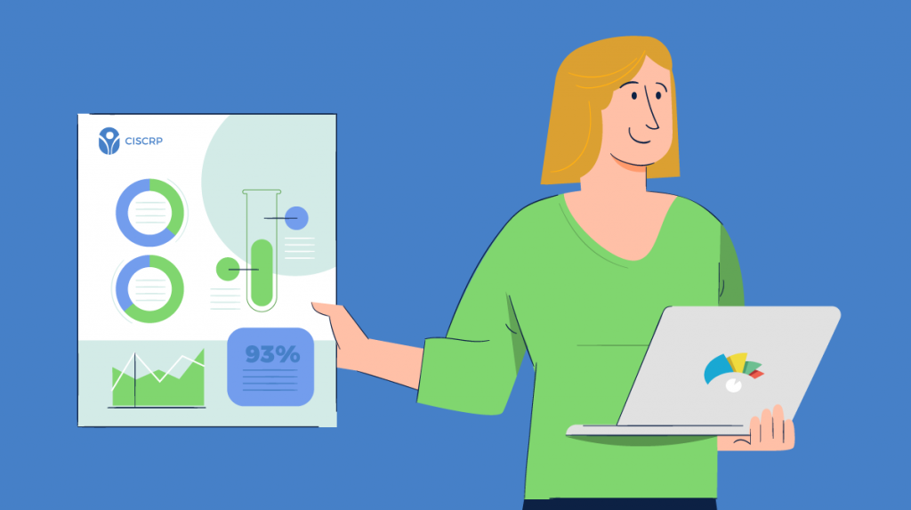 An illustration of a woman holding a laptop and an infographic against a blue background