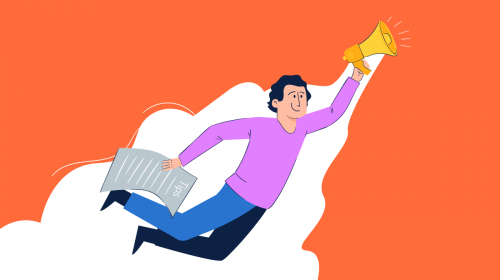 An illustration of a man with a megaphone soaring in the sky holding an ad design tips checklist.
