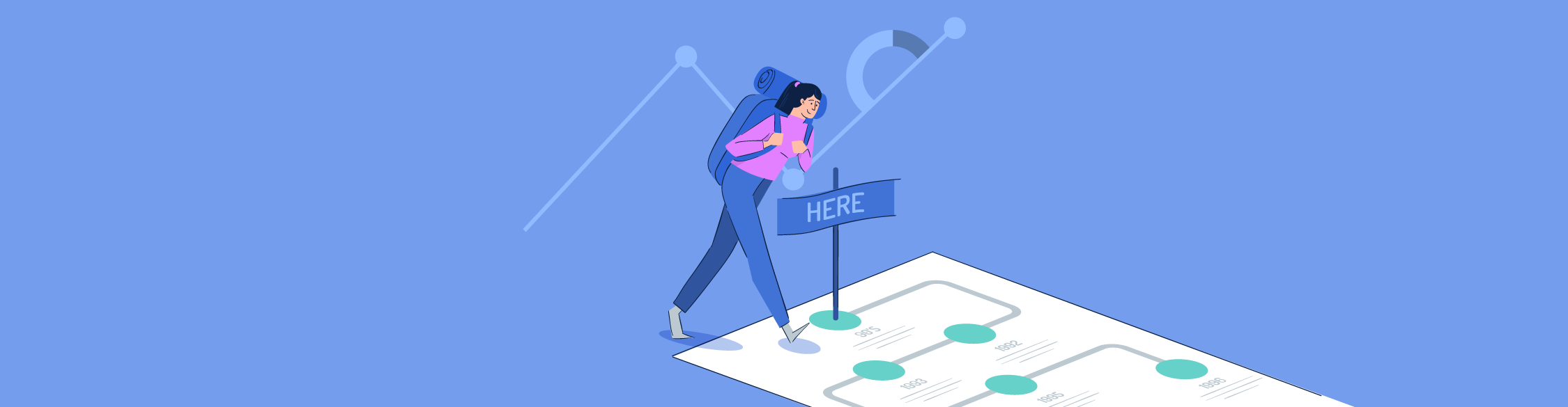 Wide illustration of a girl navigating her way through an infographic layout.