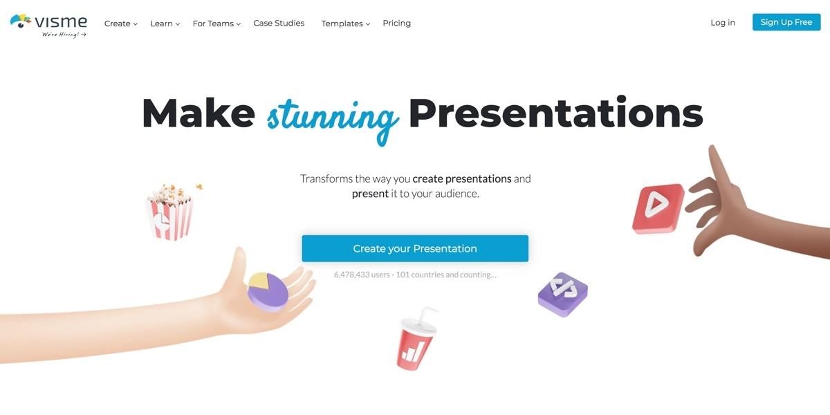 A screenshot of Visme's presentation homepage