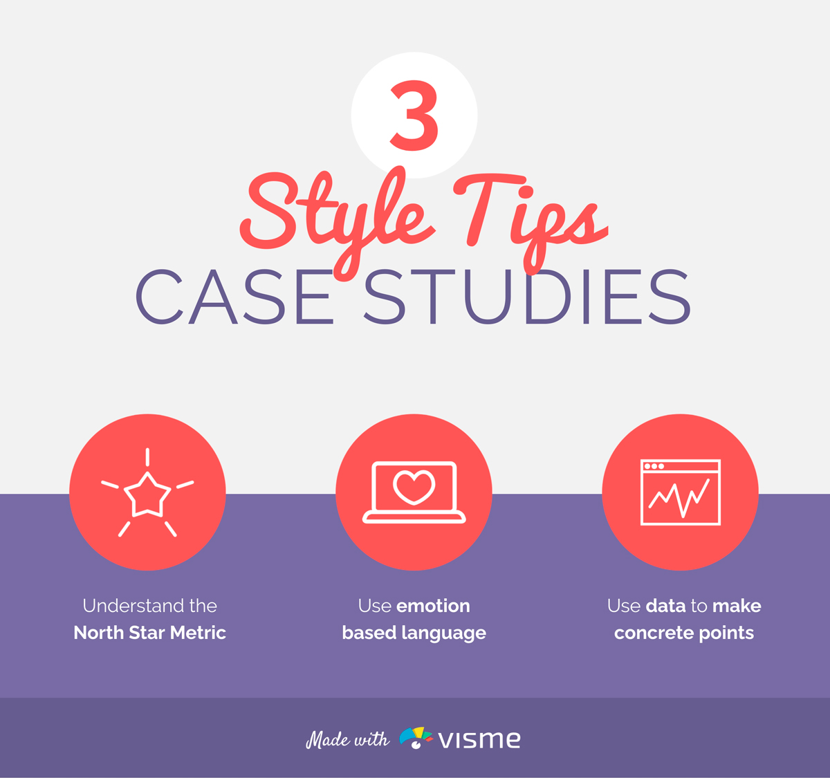 An infographic sharing three style tips for case studies.