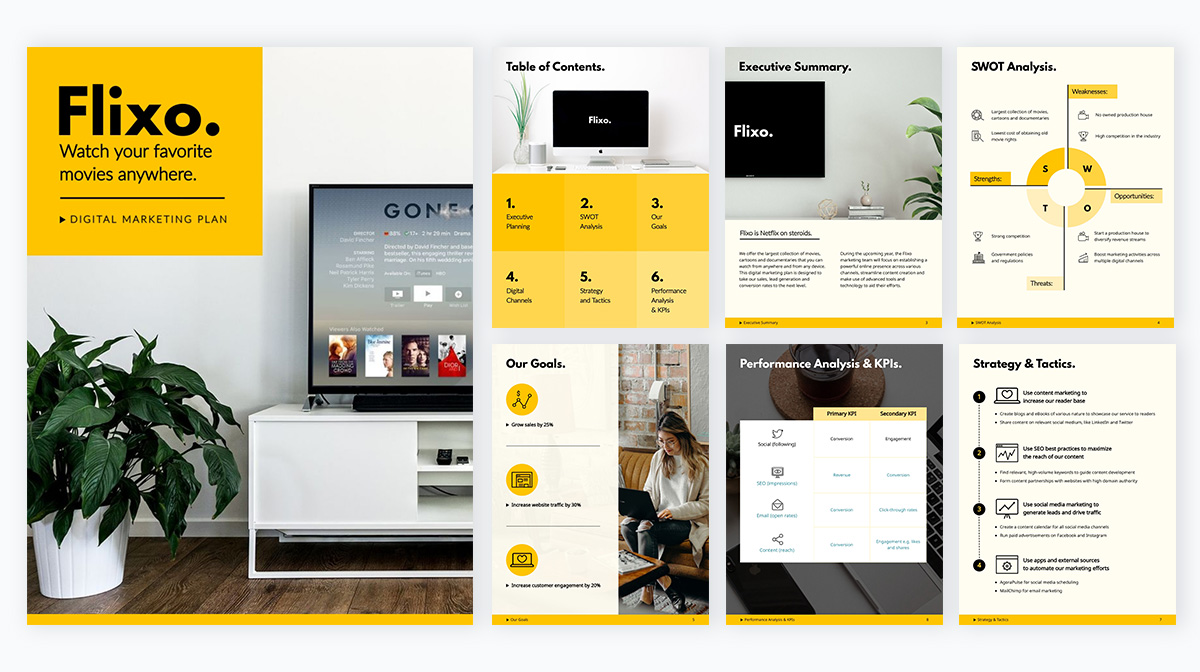 A yellow and black digital marketing plan template available in Visme.