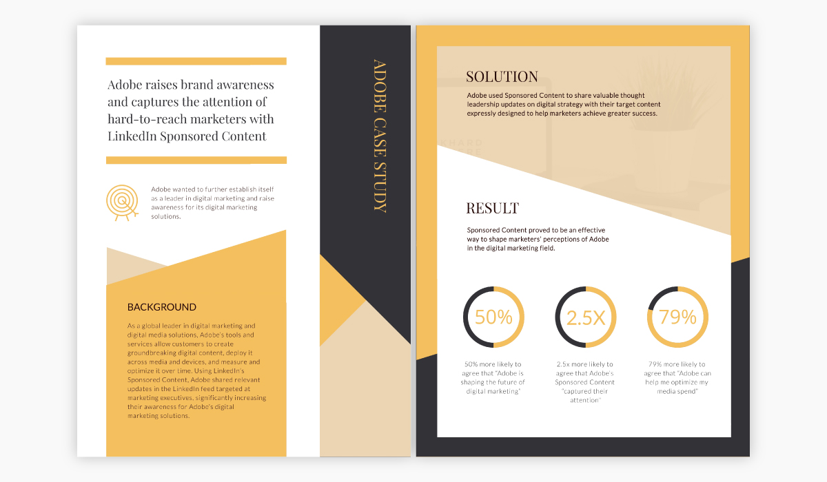 Yellow and black case study template available for customization in Visme.
