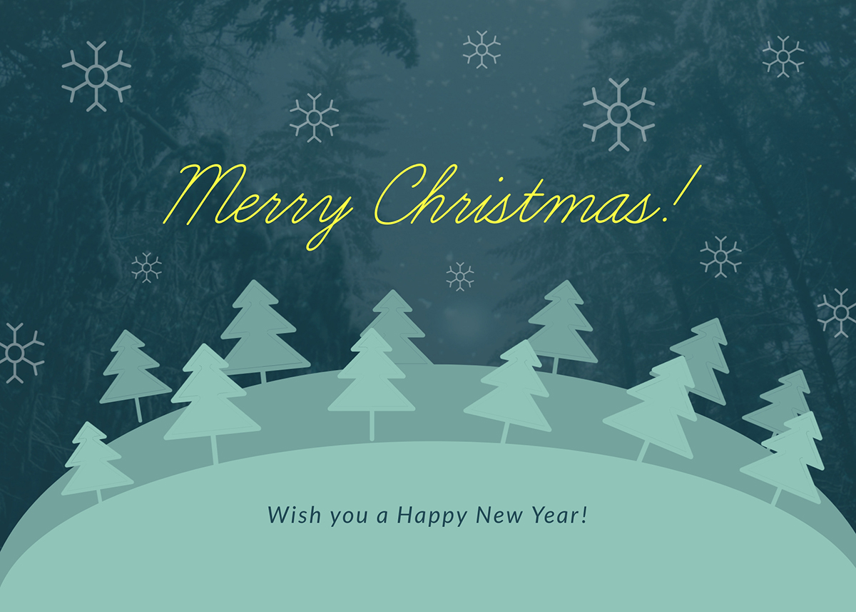 A green Merry Christmas greeting card template available in Visme.