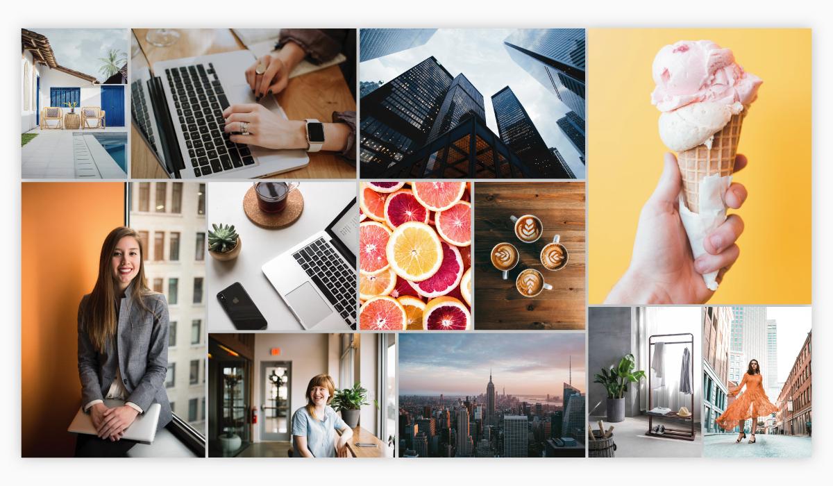 A collage of stock photos.