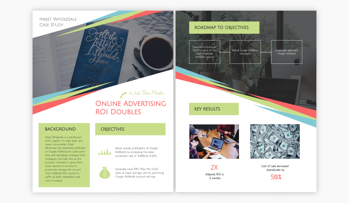 A colorful case study template available for customization in Visme.