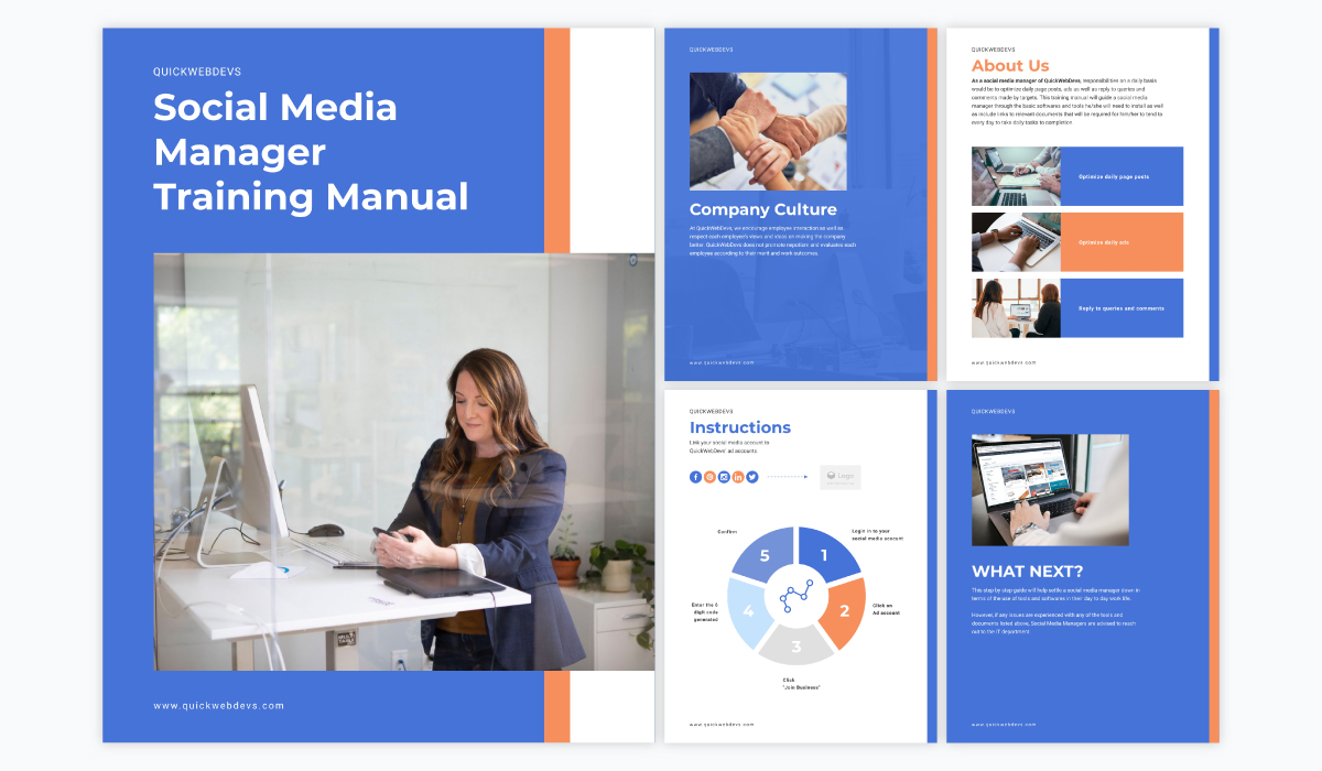 A collage showing the different pages of Visme's social media manager training manual template.