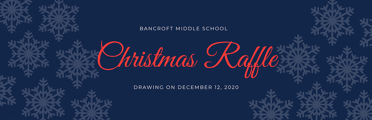 A blue, white and red Christmas raffle ticket template available in Visme.